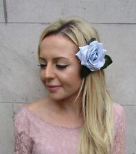 Powder Light Baby Blue Leaf Rose Flower Hair Clip Fascinator Races Wedding 6061