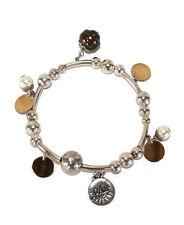 GAS BIJOUX charm beaded bead silver gold metal elasticated bracelet
