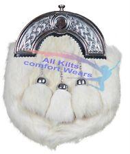 White Rabbit Fur Skin 3 Tassel Leather Kilt Sporran & Belt Scottish Bovine Purse
