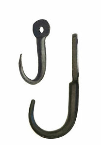 Small & Tiny Black Wrought Iron Butcher's Meat Hooks - Rustic Game & Beam Hook