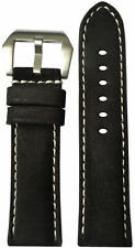 22x22 RIOS1931 for Panatime Rough Black Vintage Leather Watch Strap for Panerai