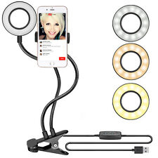 Neewer Dimmable Clamp-on Selfie Ring Light w/ Cell Phone Holder for Live Stream