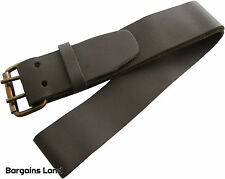"2"" x 46"" Leather Work Belt Heavy Duty Professional Brown Wide Metal 2 Pin Buckle"