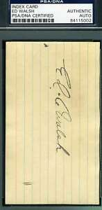 Ed Walsh Psa Dna Coa Autograph 3x5 Signed Index Card