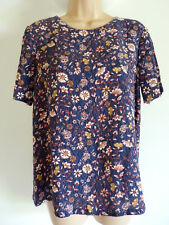 NEW ~ M&S Navy Blue Floral Print Shell Tunic Top ~ Size 18