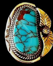 Rare, Handmade Men's Ring with Arizona Bisbee Turquoise and Sterling Silver