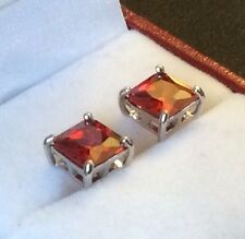 Classic Square Red Garnet silver WHITE GOLD filled 7mm stud earrings BOXD PlumUK