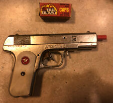 Vintage 1950's HUBLEY Army 45 CAP GUN w/Red Star Grips and a Box  Caps  USA