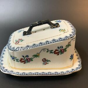 Antique English Bristol Porcelain Cheese Dish & Cover, Keeling & Co Losol Ware