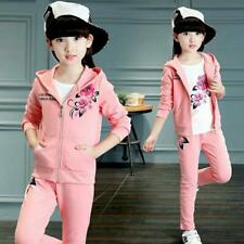 New Girls Clothes Sport Suit Kids Clothing Jacket Pants Tracksuit Size 5-15Y