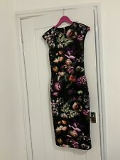 BNWT TED BAKER RAISIE Shadow Floral Print Midi Dress, Ted Size 1 UK 8
