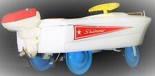 Vintage Speed Boat Pedal Car White Rare Midget Metal Show Model Blue Wheels