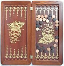 Frigate Ship Luxury Backgammon Set Leather Pieces Travel Tournament Board Game