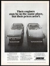 1975 FIAT X1/9 Vintage Original Print AD vs Porsche 914 convertible photo USA