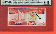1988 Singapore Ship $10 note .PMG 66 EPQ  Fancy number 888999
