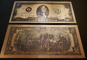 U.S. 2 Dollar gold foil note, E  Fed. Reserve Bank of Atlanta, # B999999999A