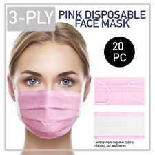 Disposable Pink Face Mask 20 PCS 3-Ply Medical Surgical Ear-Loop Mouth Cover