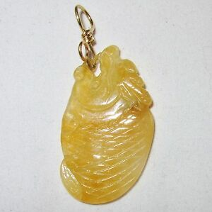 """2.3"""" Chinese 14K Gold Pendant w/ Carved A Grade Yellow JADEITE Jade Fish"""