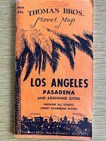 1952 LOS ANGELES, CALIFORNIA vintage street map THOMAS BROS. Pasadena & Cities