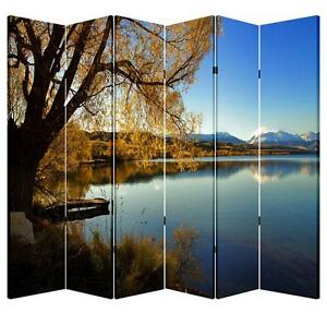 6 Panels 6ft Tall Canvas Art Double Sided Folding Screen Room Divider