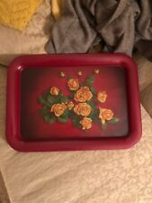 Vintage Metal Roses Design Serving Tray