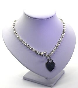 Solid Sterling Silver heavy 2.5 oz link chain Necklace & toggle heart feature