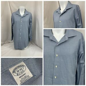 Brooks Brothers Dress Shirt 18 34 Blue Check 100% Cotton Regent YGI V1-39