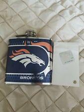 New listing Denver Broncos Liquor Flask Stainless Steel 8oz Vinyl Screw Cap Hip Gin Vodka.