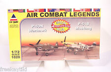 WW2 WWII P-51B Mustang and P-40N Warhawk 1/72 Fighter Airplane Plane Model Kit