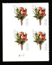 """US Plate Block of 4 - Sc #5199 - """"2017"""" Celebration Boutonniere Forever - MNH"""