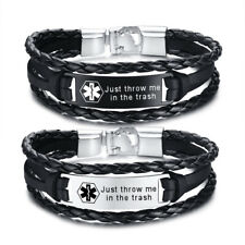 Personalized Engraved Medical Alert ID Men Bracelet Multi Layers Braided Leather