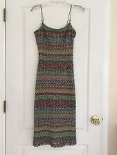 Arden B Woman's Long Crochet Dress - Lined - Multicolored Medium