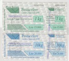 2 RARI FRANCOBOLLI ITALIA POSTACELERE 1998 CAT nà 7 E 9 USATI COMPLETI PERFETTI