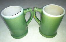 2 Vtg 50'S Green Drip Glaze Pottery Stoneware Mugs beer Steins Coffee Cups Mcm