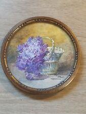 Blanche Odin aquarelle  Ancienne 19eme  tableau peinture miniature .