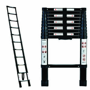 BLACK Portable Telescopic Ladder 3.2 m & Carry Bag Caravan RV Parts