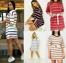 Womens Stripe Printed Baggy Oversized Boyfriend T-Shirt Tunic Dress Longline Top