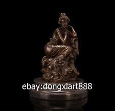 20CM Western Art Deco Bronze Marble Europe Women Girl Lady Fair Maiden Sculpture
