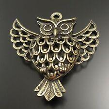 5X Vintage Style Bronze Tone Alloy Flying Owl Pendant Charm 48*47*14mm