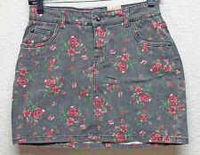 Teen Girls Denim Skirt Arizona Stretch Floral Multi-Color Pantie Liner Size 14