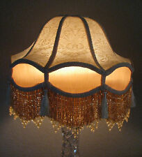 "Victorian French Large Floor Table Lamp Shade ""Royal"" Beads Fringe Tassels Look!"