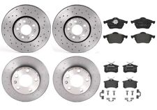 Front Rear Brembo Xtra Brake Kit Disc Rotors Drilled Low-Met Pads For Golf Jetta