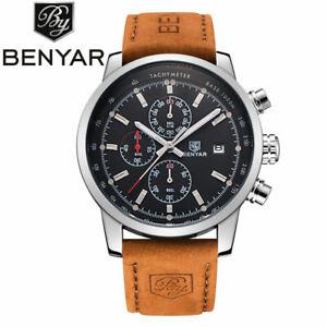 BENYAR Pilot Military Watches Leather Band Date 3ATM Men Quartz Wrist Watch Gift