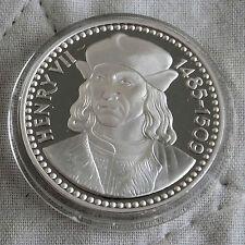 Henry VII 1457 - 1509 32mm caracteriza medalla de plata prueba