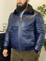 Authentic 100% Brioni Leather Fur Jacket Italy Blue Men Outerwear Original NEW!