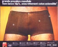 PUBLICITÉ DE PRESSE 1973 SLIP HOM LANCE HIP'S SOUS-VÊTEMENT COTON EXTENSIBLE