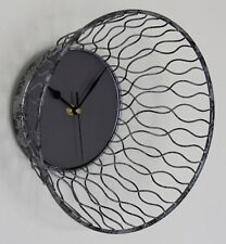 NEW 28cm Modern Metal Wall Clock - Rustic Industrial Silver Shabby Chic French