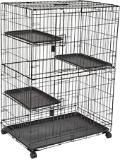 Basics Large 3-Tier Cat Cage Playpen Box Crate Kennel - 36 x 22 x 51 Inches, Bl