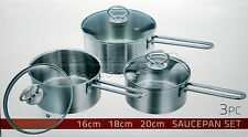 3pc Saucepan Set Stainless Steel Cookware Pot With Glass Lids Sauce Pan Silver