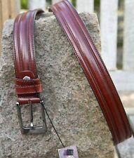 Men's Narrow Thick Brown Spanish Bull Leather Belt Trouser Designer Belt 1.10 cm